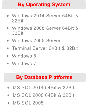 •	MS SQL 2014 64Bit & 32Bit •	MS SQL 2008 64Bit & 32Bit •	MS SQL 2005 By Database Platforms  By Operating System  •	Windows 2014 Server 64Bit & 32Bit •	Windows 2008 Server 64Bit & 32Bit •	Windows 2005 Server •	Terminal Server 64Bit & 32Bit •	Windows 8 •	Windows 7
